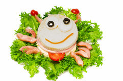 Crab sandwich for child. Royalty Free Stock Image