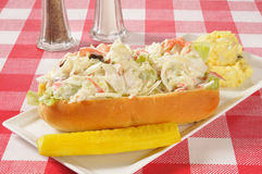 Crab sandwich on a deli roll Royalty Free Stock Photos