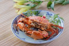 Crab with sauce Stock Photo