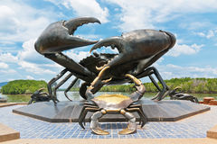 Crab sculpture at a beach Stock Images