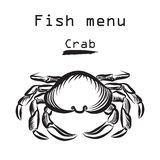 Crab. Sea food menu label. Fish restraunt background. Crab icon. Sea food menu label. Fish restraunt cover background Royalty Free Stock Images