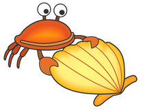 Crab and shell. Vectorial illustration of crab and shell. Isolated on a white background. EPS file available Stock Images