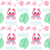 Crab with shell, palm leaf, wave and starfish seamless pattern. Royalty Free Stock Images