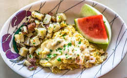 Crab and shrimp omelette Royalty Free Stock Images
