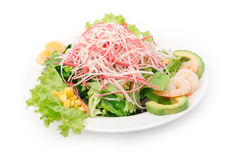 Crab and shrimps salad Royalty Free Stock Images
