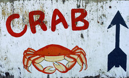 Crab sign. Hand-painted crab sign at a beach boardwalk stock images