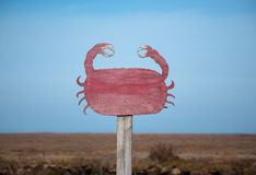 Crab sign near Orford quay, Orfordness, Suffolk, England Stock Photo