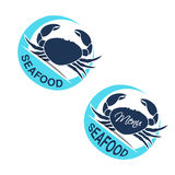 Crab silhouette. Circular seafood symbols, labels  on white background for produkt design or menu restaurant. Royalty Free Stock Photo