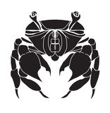 Crab silhouette. Hand drawn black crab silhouette isolated on white background Royalty Free Stock Images