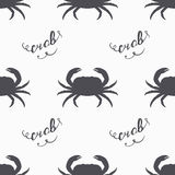 Crab silhouette hand drawn seamless pattern in hipster style. Handwritten sign Stock Photo