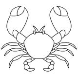 Crab silhouette isolated on white background. Crab line icon. Vector illustration. Crab silhouette isolated on white background. Crab line icon. Vector Royalty Free Stock Photos