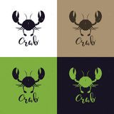 Crab silhouette. Seafood shop logo branding template for craft food packaging or restaurant design. Vector illustration, Royalty Free Stock Images