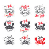 Crab silhouette. Seafood shop logo branding template Royalty Free Stock Photo