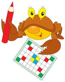 Crab solve a crossword puzzle. Vector clip-art / funny character for your design Stock Images