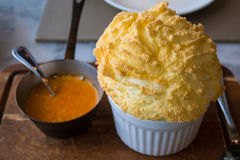 Crab Souffle served with lobster brandy sauce. Soft tasty and delicious dish Stock Image