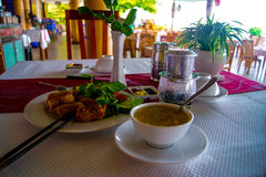 Crab soup, fried spring rolls with shrimp and Vietnamese coffee in the coastal cafe. Vietnam, Asia Stock Photo