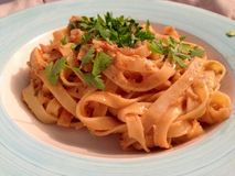 Crab spaghetti. Crab speghettini with chilli Stock Photo