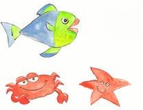Crab, starfish and fish Stock Photos