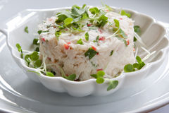 Crab Starter. Crab, chilli and coriander stack garnished with cress Royalty Free Stock Images