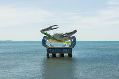 Crab statue in sea. Kep, Cambodia Royalty Free Stock Photos