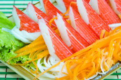 Crab stick with fresh vegetables Stock Images