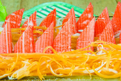Crab stick with fresh vegetables Stock Photo