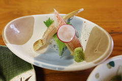 crab stick meal, decorate crab stick Japanese food. stock image