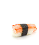 Crab stick nigiri sushi isolated on white. Royalty Free Stock Photography