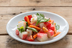Crab stick spicy salad. Royalty Free Stock Image