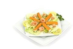 Crab sticks. Dish with crab sticks, herbs, lemon and fish Stock Images