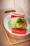 Crab sticks, cabbage, tomato, Stock Photography