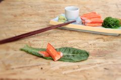 Crab sticks on a plate Royalty Free Stock Photo
