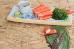 Crab sticks on a plate Stock Photography
