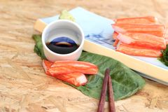 Crab sticks on a plate Royalty Free Stock Photography