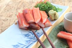 Crab sticks on a plate Stock Photo