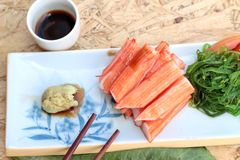 Crab sticks on a plate Stock Images