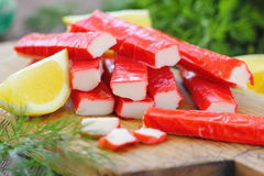Crab sticks prepared for eating Royalty Free Stock Image