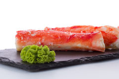 Crab sticks on a stone plate Stock Photos