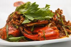 Crab stirred spicy with celery. A dish of pincers crab stirred  spicy with celery Stock Image