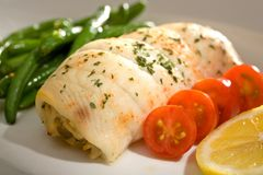 Crab Stuffed Flounder and Tomatoes Stock Image