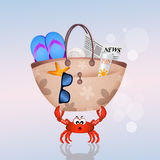 Crab with summer objects Stock Image
