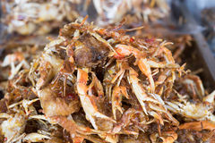 Crab. Sweet crab and spicy dried crab on the market  Thai style crispy fried crab Stock Images