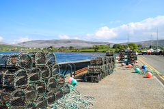 Crab tand lobster traps on a pier, Ireland Royalty Free Stock Photos