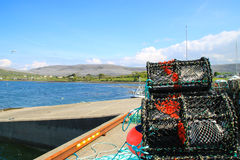Crab tand lobster traps on a pier, Ireland Royalty Free Stock Images