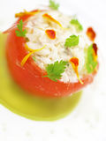 Crab in tomato appetizer Royalty Free Stock Images