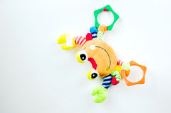 Crab toy. Colorful smiling crab toy hanging on the push -pin Stock Photos