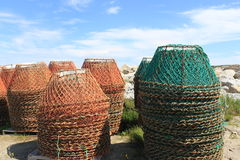 Crab traps. Colorful crab traps near an ocean wharf Stock Photography