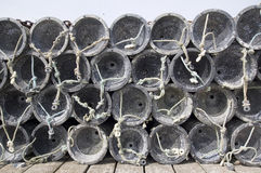 Crab traps. Stacked on Welsh coast royalty free stock images