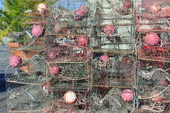 Crab Traps In Florida. Crab traps stacked near bay in Florida royalty free stock images
