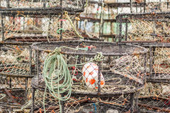 Crab traps. Piled crab  traps on the fishing yard Stock Photo